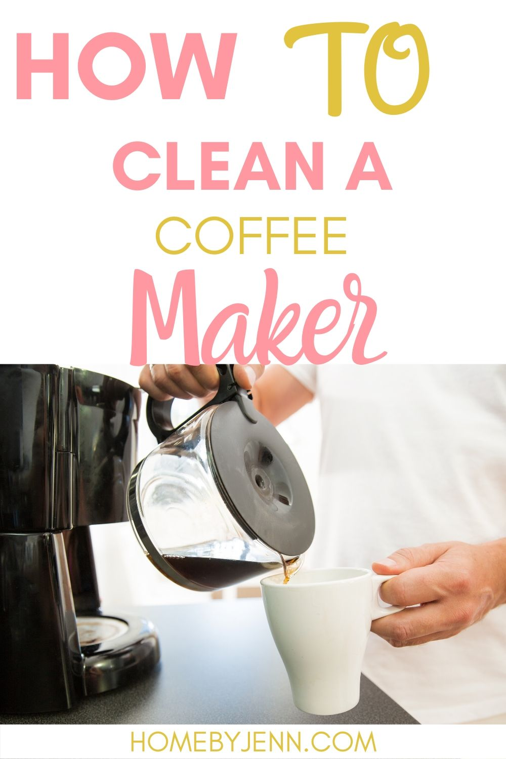 Having a clean coffee maker will ensure your coffee will taste fresh.  Learn how to clean a coffee maker and extend the life of your coffee maker. #howtocleancoffeemaker #tipsforcleaningcoffeemaker #cleaningtips #cleaningtipsforthehome #cleaninghacks #cleaningtipsandtricks #deepcleaningtips #deepcleaninghacks via @homebyjenn