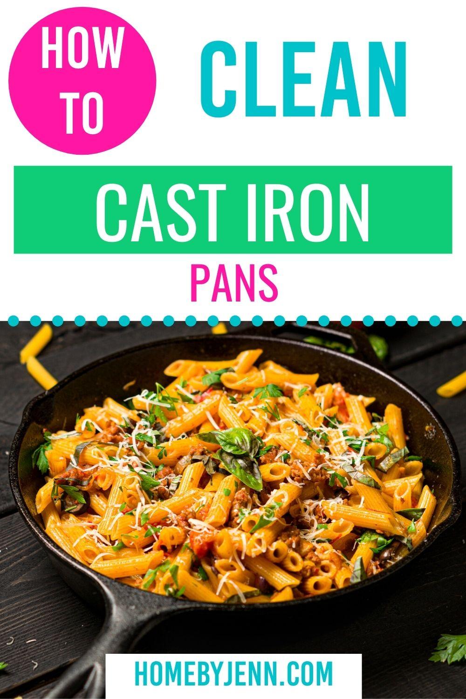 Don't ruin your cast iron pans. Learn the correct way to clean your cast iron pans. #cleaningtips #castiron #cleancastiron #cleaningtipsandtricks #cleaninghacks via @homebyjenn