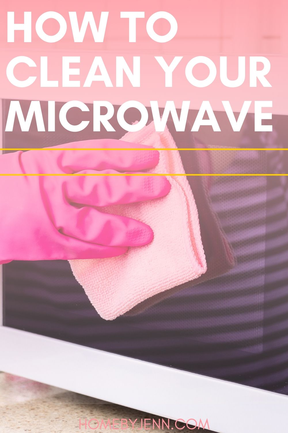 Get these simple cleaning so you can learn how to clean your microwave. #cleaning #howtocleanamicrowave #cleaningtips #cleaningtipsandtricks #cleaninghacks #kitchen #microwave via @homebyjenn