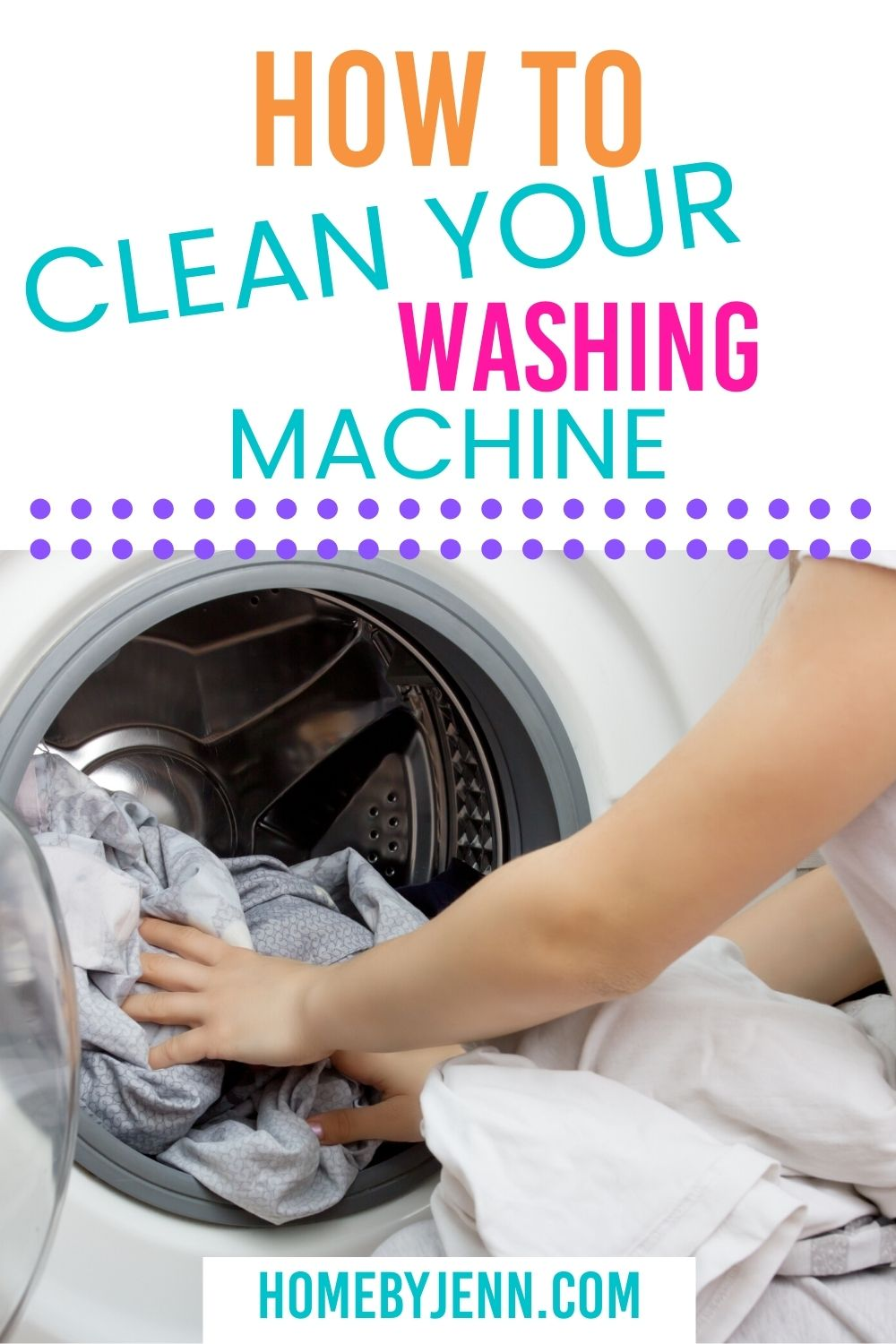 Cleaning your washing machine is important to keep your washing machine smelling fresh and guaranteeing your clothes coming out clean.  Learn how to clean a washing machine. #howtocleanwashingmachine #howtocleanyourwashingmachine #deepcleaninghome #cleaningtips #cleaninghacks #cleaningtipsforthehome #cleaningtipsandtricks #deepcleaninghacks via @homebyjenn