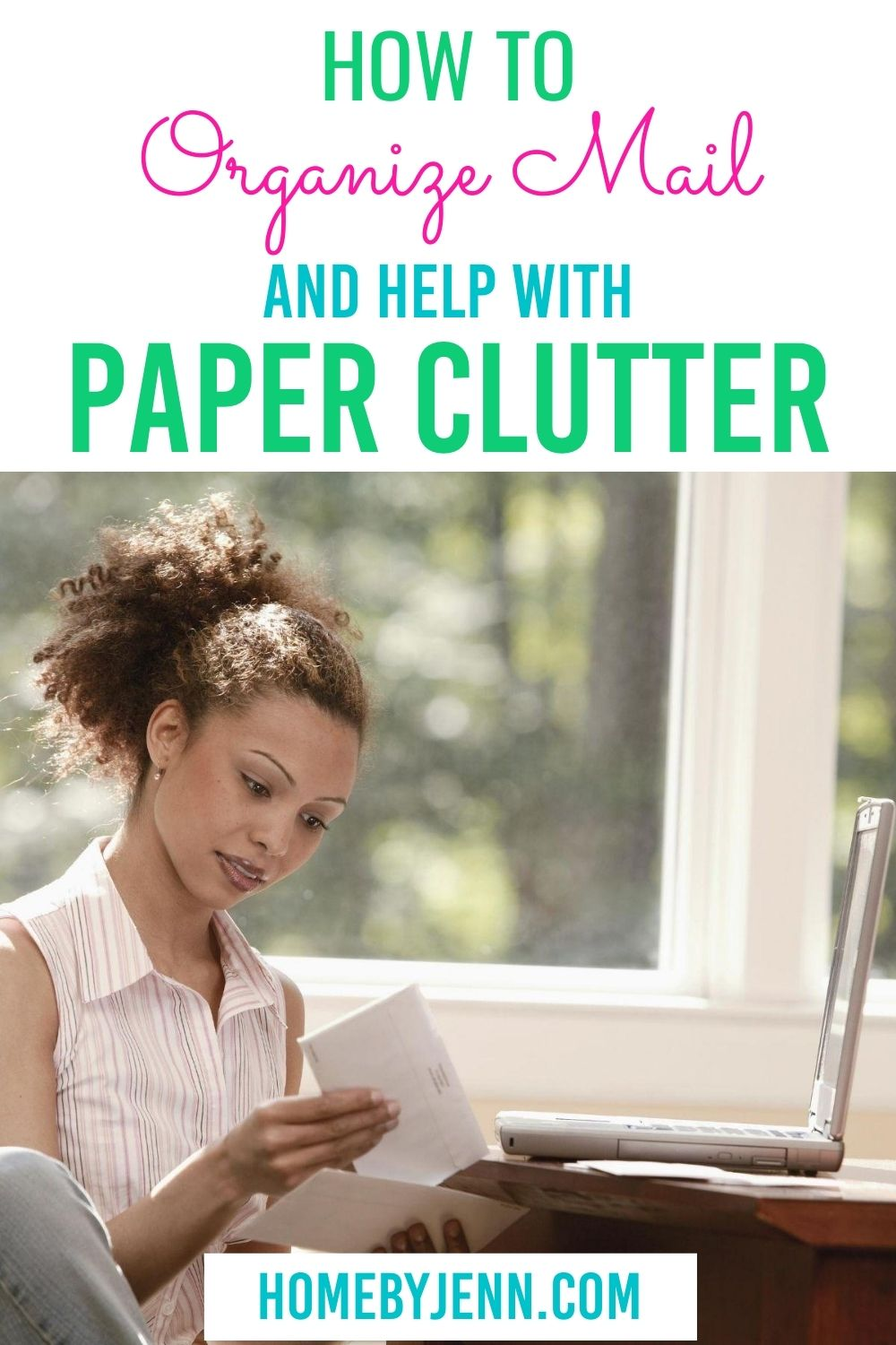 Learn how to organizing mail to help reduce paper clutter in your home. #organize #paperclutter #declutter #organizepaper #organizemail #declutteringtips #howto via @homebyjenn