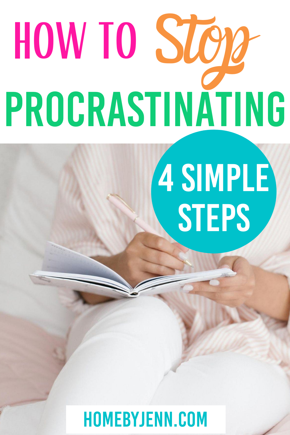 How to stop procrastinating by following these 4 simple time-saving tips #timesavingtips #procrastinating #timemanagement #timemanagementtips via @homebyjenn