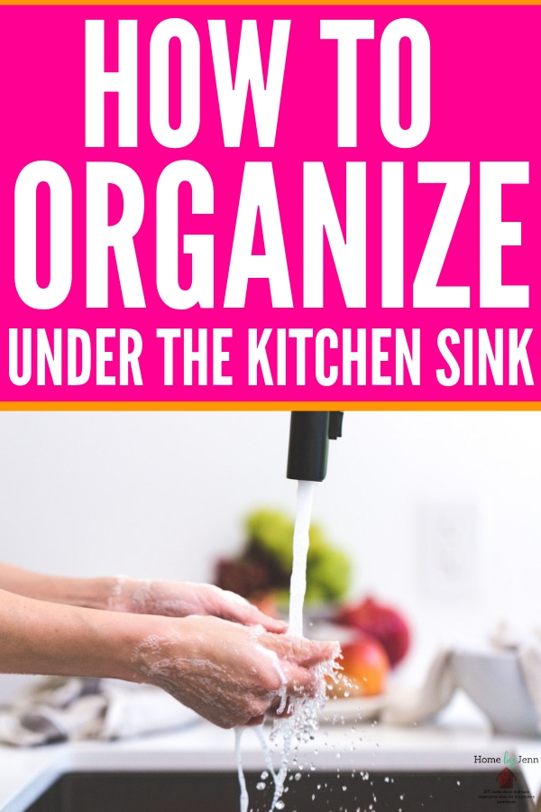 These simple tips can help anyone organize under the kitchen sink! They'll help you stay organized so you can find what you need with ease! #organizing #homeorganization #kitchenorganization #organizeunderthesink #cleaningsupplies #organizingtips #organizinghacks