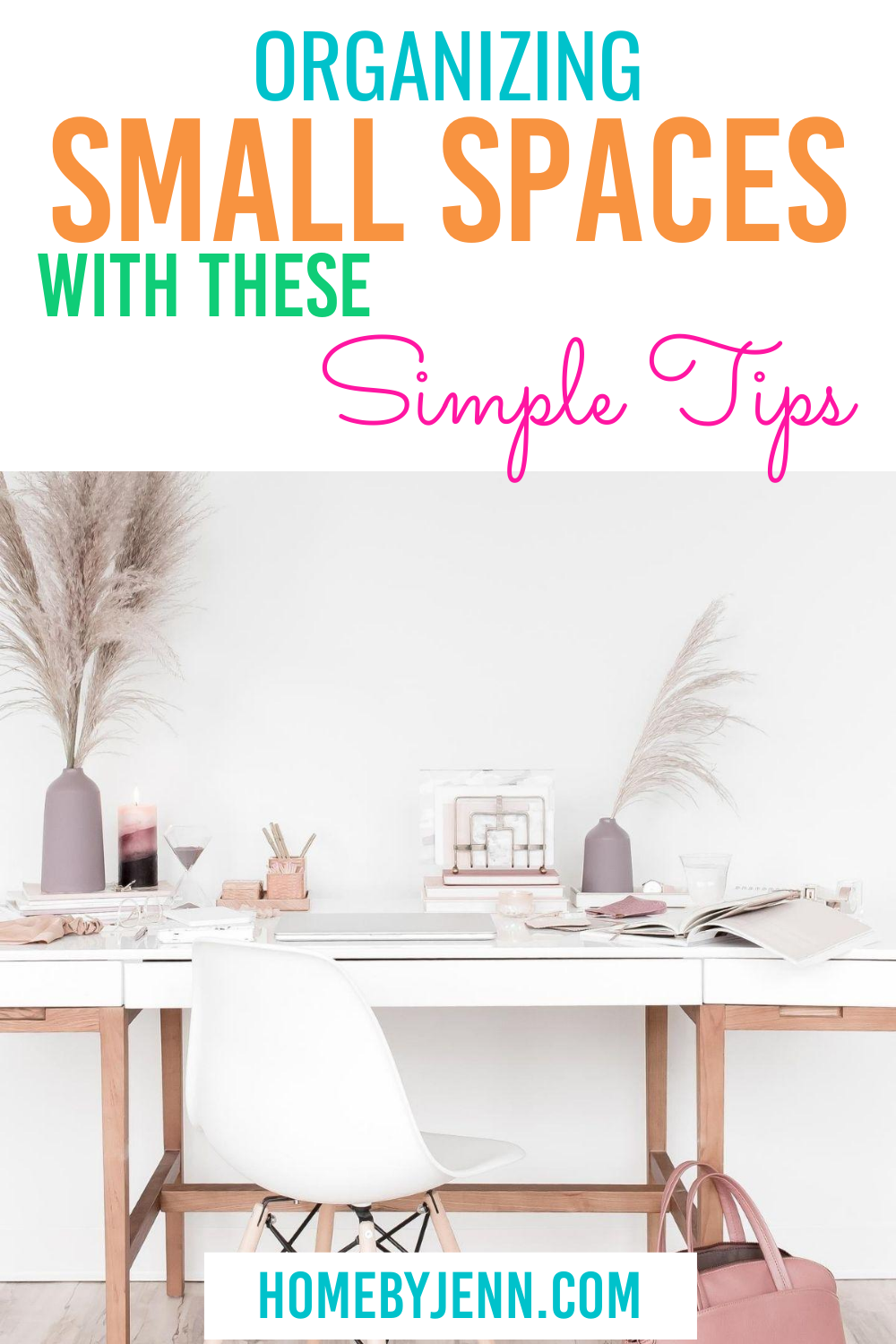 How to stay organized when you live in a small home. Here are some organizing ideas for small spaces. These home organizing hacks will help keep your home organized with ease. #organizing #homeorganization #organizingsmallspaces #organizeasmallhouse #organizinghacks #organizingtipsandtricks via @homebyjenn