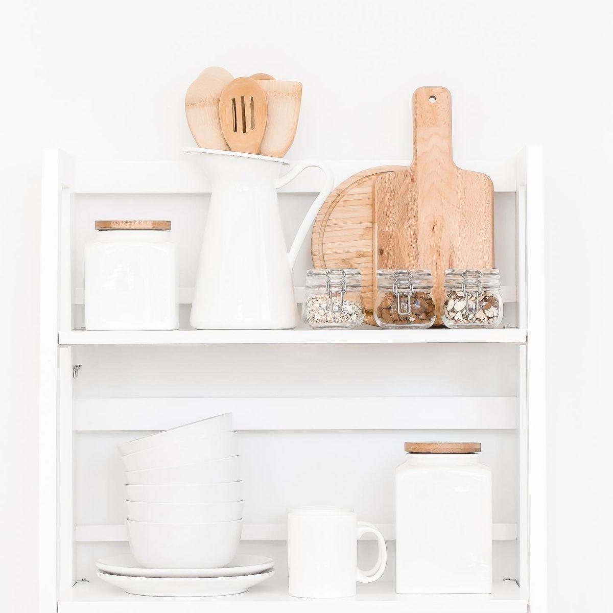 kitchen items organized on a small shelf