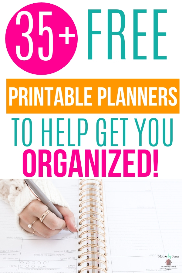 Looking for a few free printable planners to help you get organized and on track? With these 35 different options, you can't go wrong! #freeprintableplanners #homebyjenn #organization #planners
