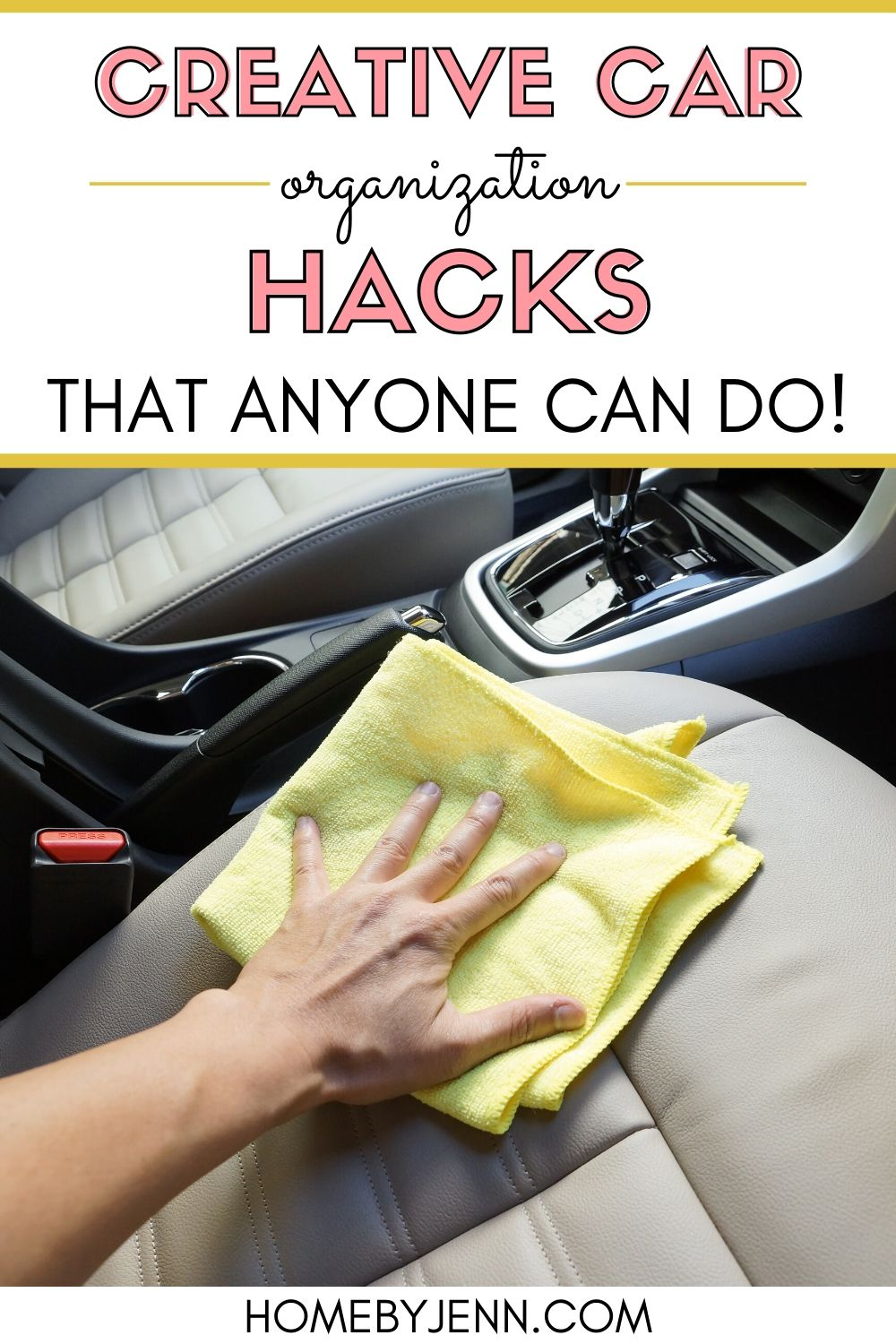 Owning a car means that you need to find ways to keep it clean and decluttered. These car organization hacks are so simple, anyone can do them! #cleaningtips #cleaninghacks #carcleaning #carorganizationhacks #organizinghacks via @homebyjenn