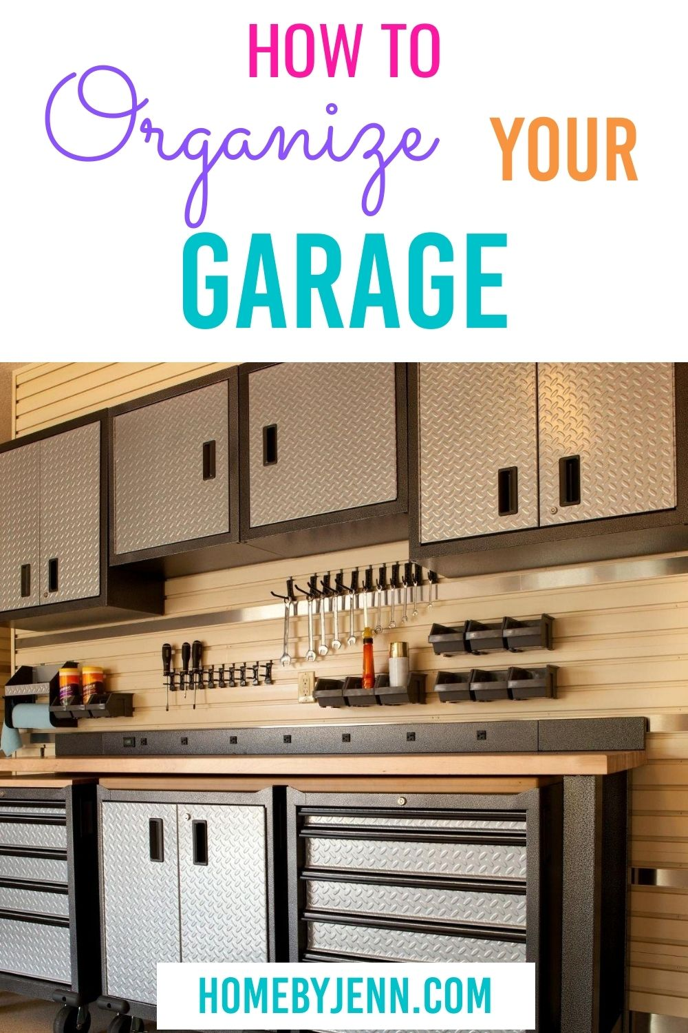 How to organize a garage with ease. Garages can be overwhelming to organize but with these organizing tips you can have an organized garage in no time. #organizing #garage #organizedgarage #organizingtips #organizinghacks #organizingtipsandtricks via @homebyjenn