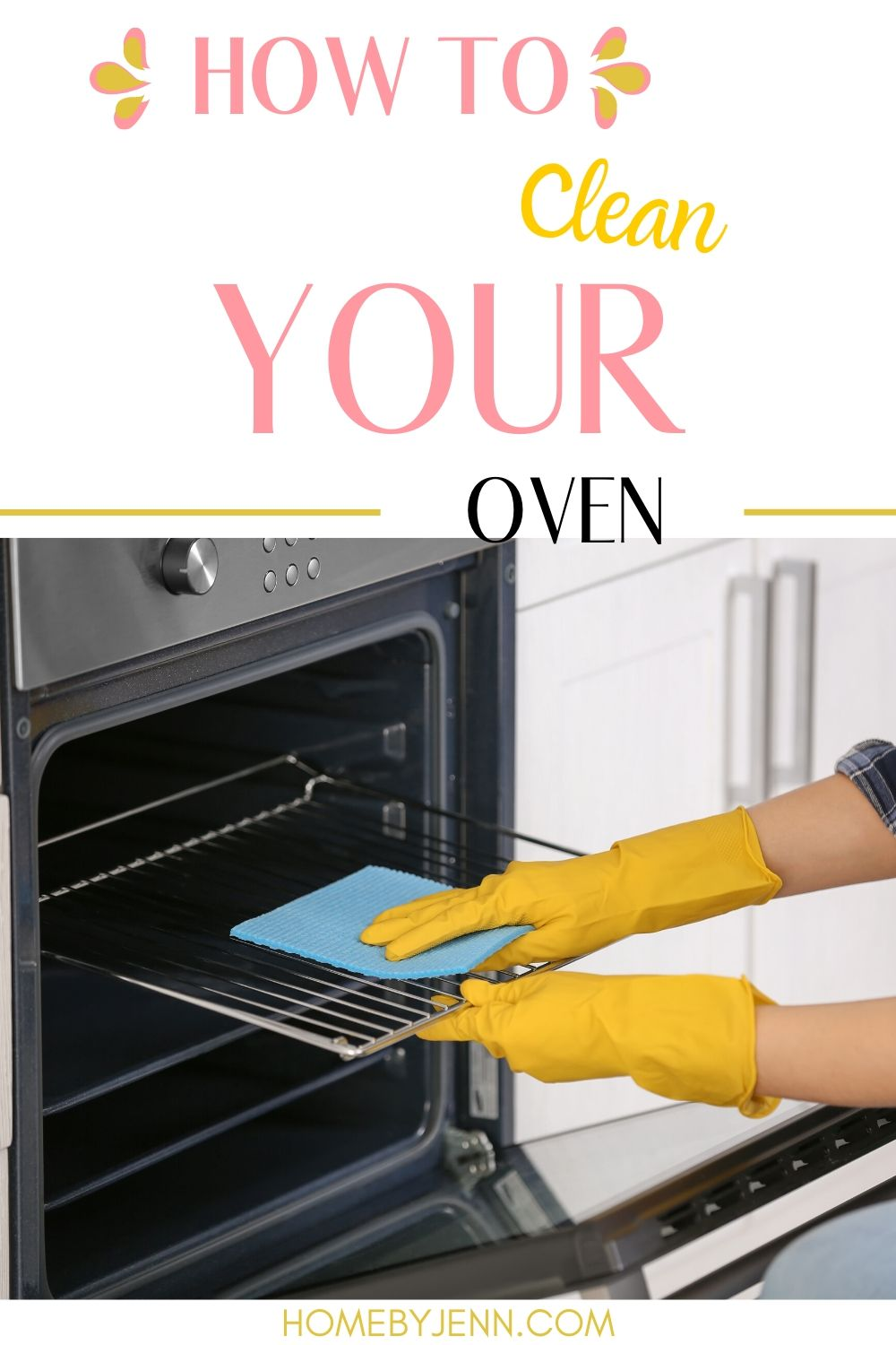 Learn how to clean your oven with these cleaning tips. You'll learn the best ways to clean your oven in different ways. Chose the best that will work for you. Download the free checklist to help you too. #cleaning #howtocleanaoven #cleaningtips #cleaningtipsandtricks #cleaninghacks via @homebyjenn