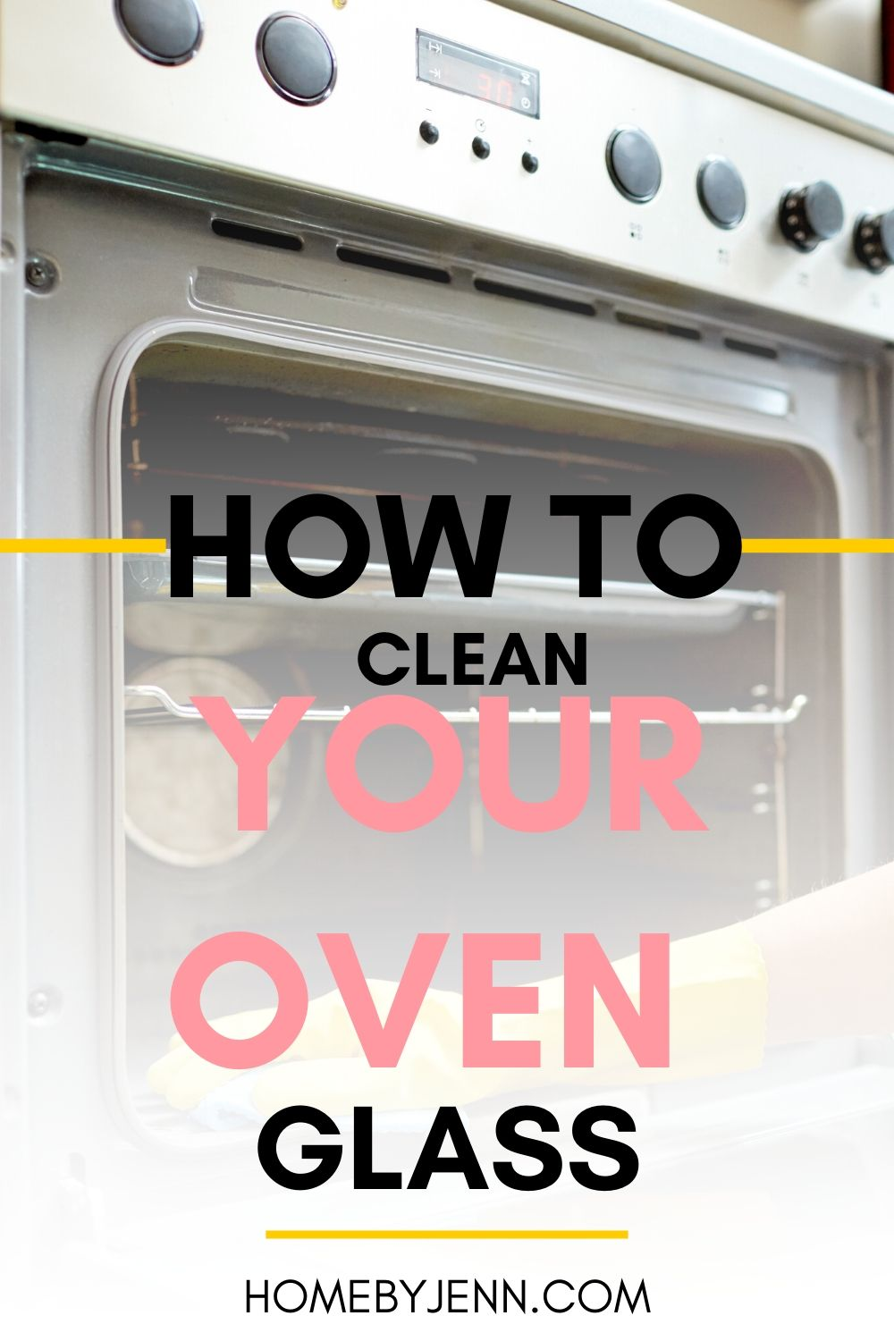 Learn how to clean your oven glass.  These cleaning tips will show you how to remove the caked on food that sticks to the oven glass.  You'll learn exactly how to enjoy a fully clean oven. #cleaningtips #cleaninghacks #cleaningtipsandtricks #cleankitchen #cleanoven #cleanovenglass via @homebyjenn