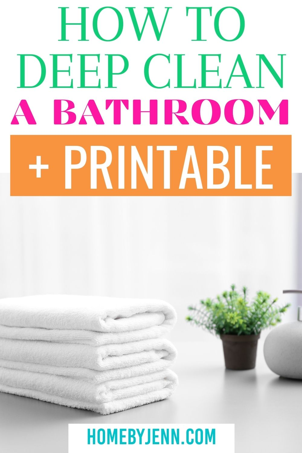 Learn how to deep clean a bathroom plus download the free bathroom cleaning checklist. I'll walk you through exactly what to do when deep cleaning your bathroom. Follow these simple steps to clean a bathroom fast and efficiently. via @homebyjenn