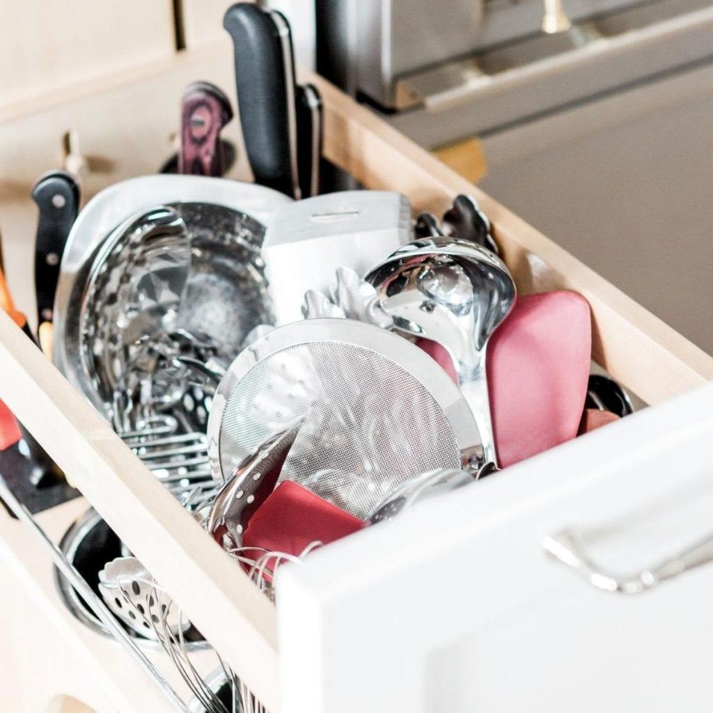 kitchen utensils organized in a drawer