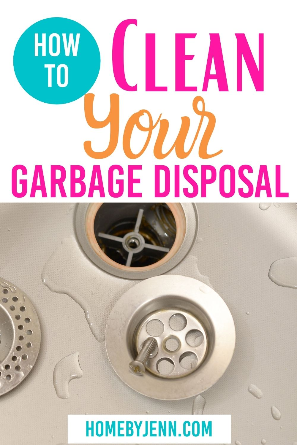 Don't stress out over how to clean your garbage disposal! These simple tips will have it good as new in no time at all, plus it will smell great! #cleaningtips #cleaningtipsandtrick #cleaninghacks #garbagedisposal #howtocleanagarbagedisposal via @homebyjenn