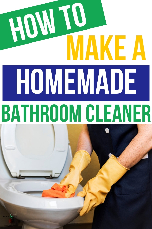 It's time to ditch the store-bought cleaners and instead make your own homemade bathroom cleaner. You'll love the ease and cost! #cleaning #cleaner #diycleaner #naturalcleaning #diy #cleanhome #bathroom #bathroomcleaner via @homebyjenn