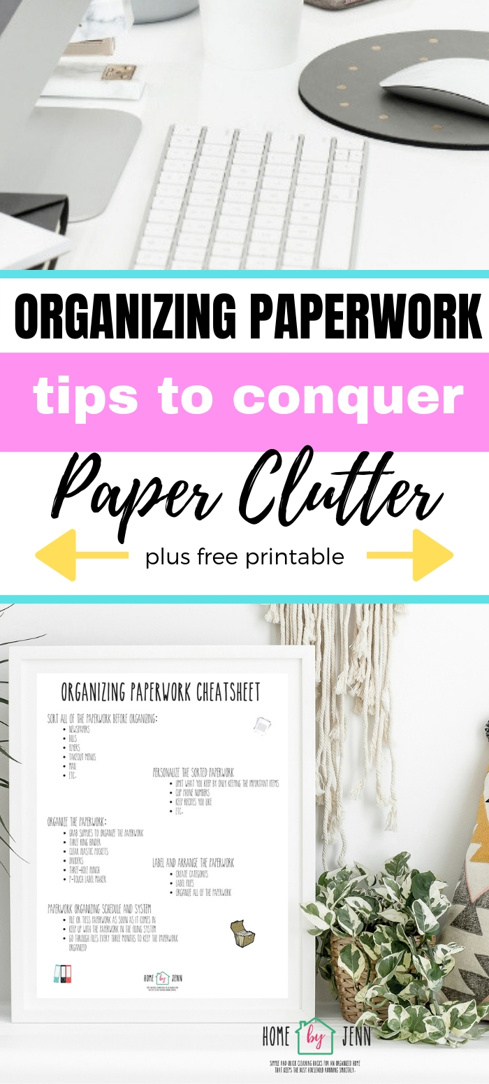Organizing paperwork and your bills at home is something you can totally do with these simple tips. Learn how to organize paperwork at home. #paperclutter #organizingpaper #howtoorganizepaperwork #organizepaperclutter via @homebyjenn