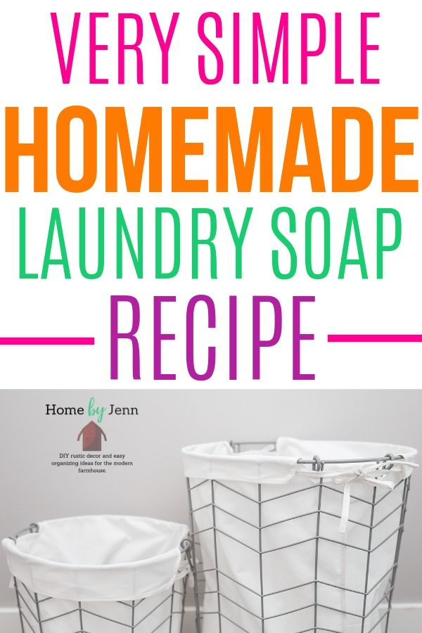 Learn how to make your own homemade laundry soap. This DIY laundry soap is simple to make with common found ingredients. #diy #diylaundrysoap #laundry #laundrysoap #homemadelaundry #naturalcleaning #naturalcleaningsupplies