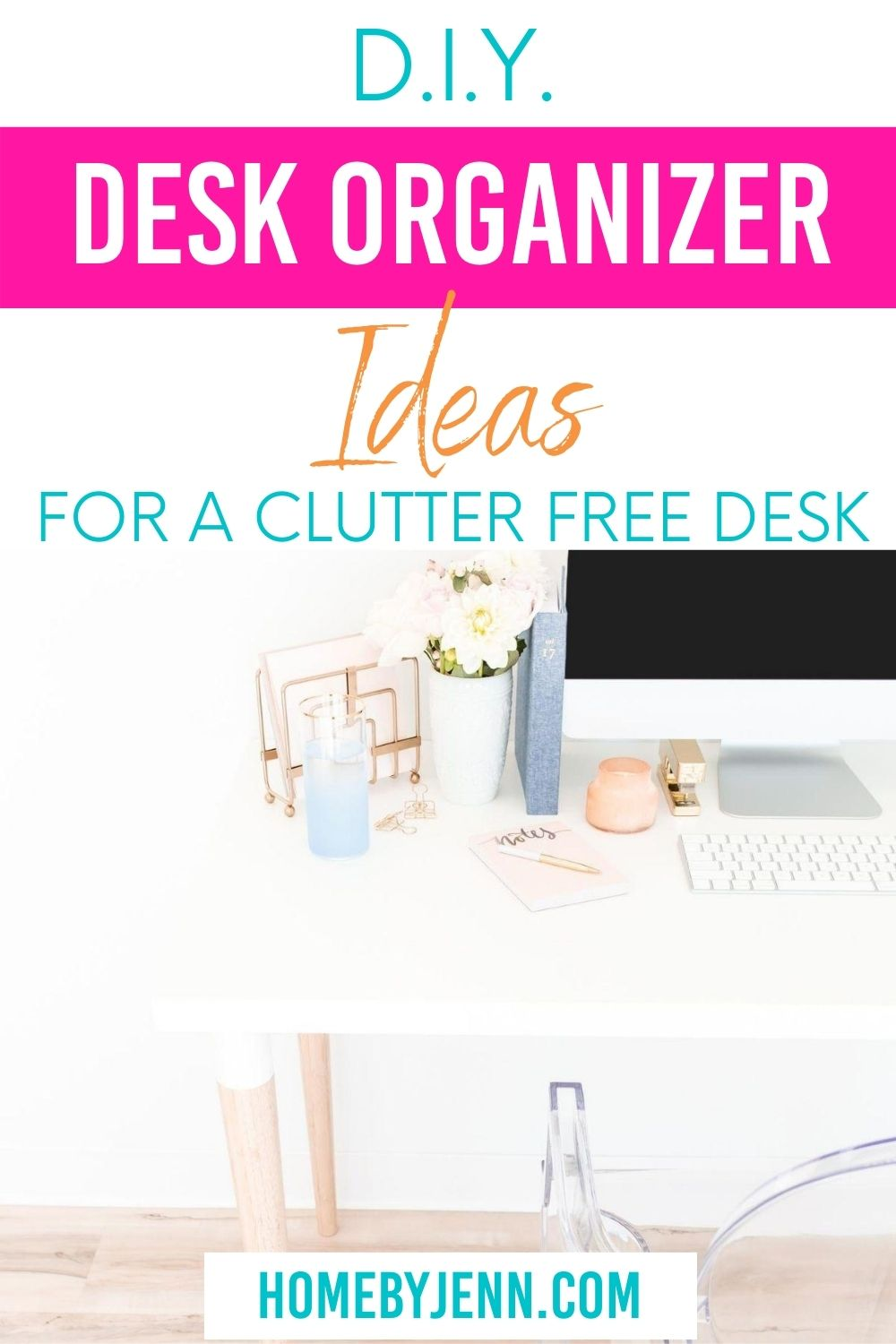 Having a clean and organized work area is key to helping with productivity. You can save money on your home organization by doing it yourself. Get some DIY desk organizer ideas to help you create a work space that stays clean and organized. #DIY #Deskorganizerideas #organizingideas #cleaning #organized via @homebyjenn