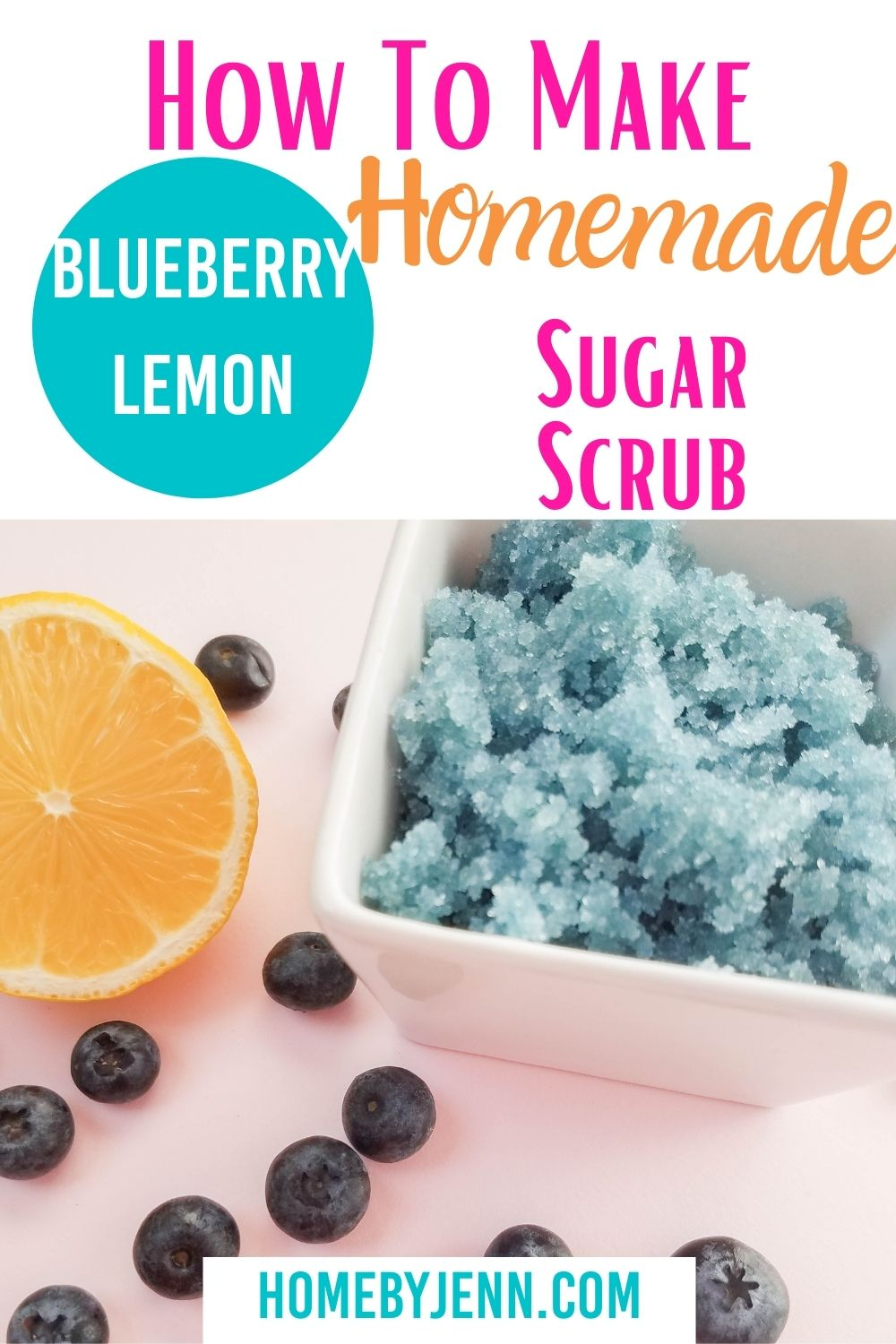 This blueberry lemon homemade sugar scrub is simple and easy to make. The recipe for sugar scrub uses only 4 simple ingredients making a perfect homemade gift. You'll love the smell and feel of this blueberry lemon sugar scrub! #DIY #homemade #blueberry #lemon #sugarscrub #beauty #naturalliving via @homebyjenn