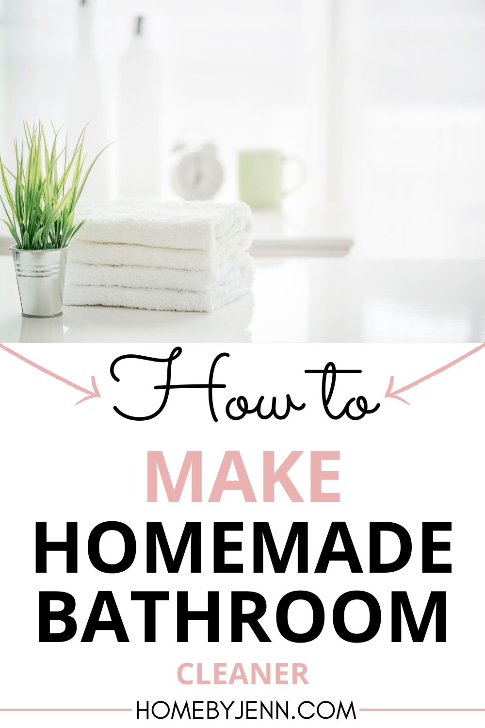 It's time to ditch the store-bought cleaners and instead make your own homemade bathroom cleaner. You'll love the ease and cost!#cleaning #cleaner #diycleaner #naturalcleaning #diy #cleanhome #bathroom #bathroomcleaner via @homebyjenn