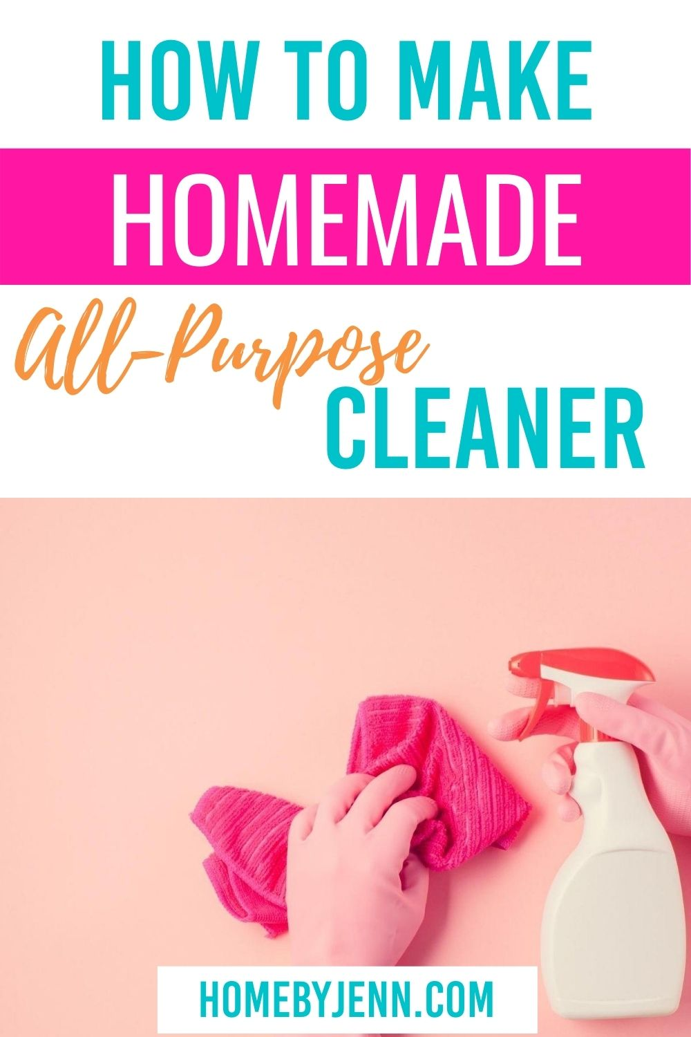 If you're looking for a simple and easy homemade all-purpose cleaner, you've arrived at the right place. In no time at all, you'll be using it to clean! #clean #naturalcleaner #allpurposecleaner #homemadecleaner #cleanhome via @homebyjenn