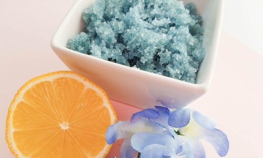 homemade sugar scrub in a bowl
