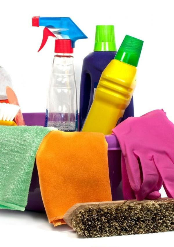 cleaning tools for the home in a bucket