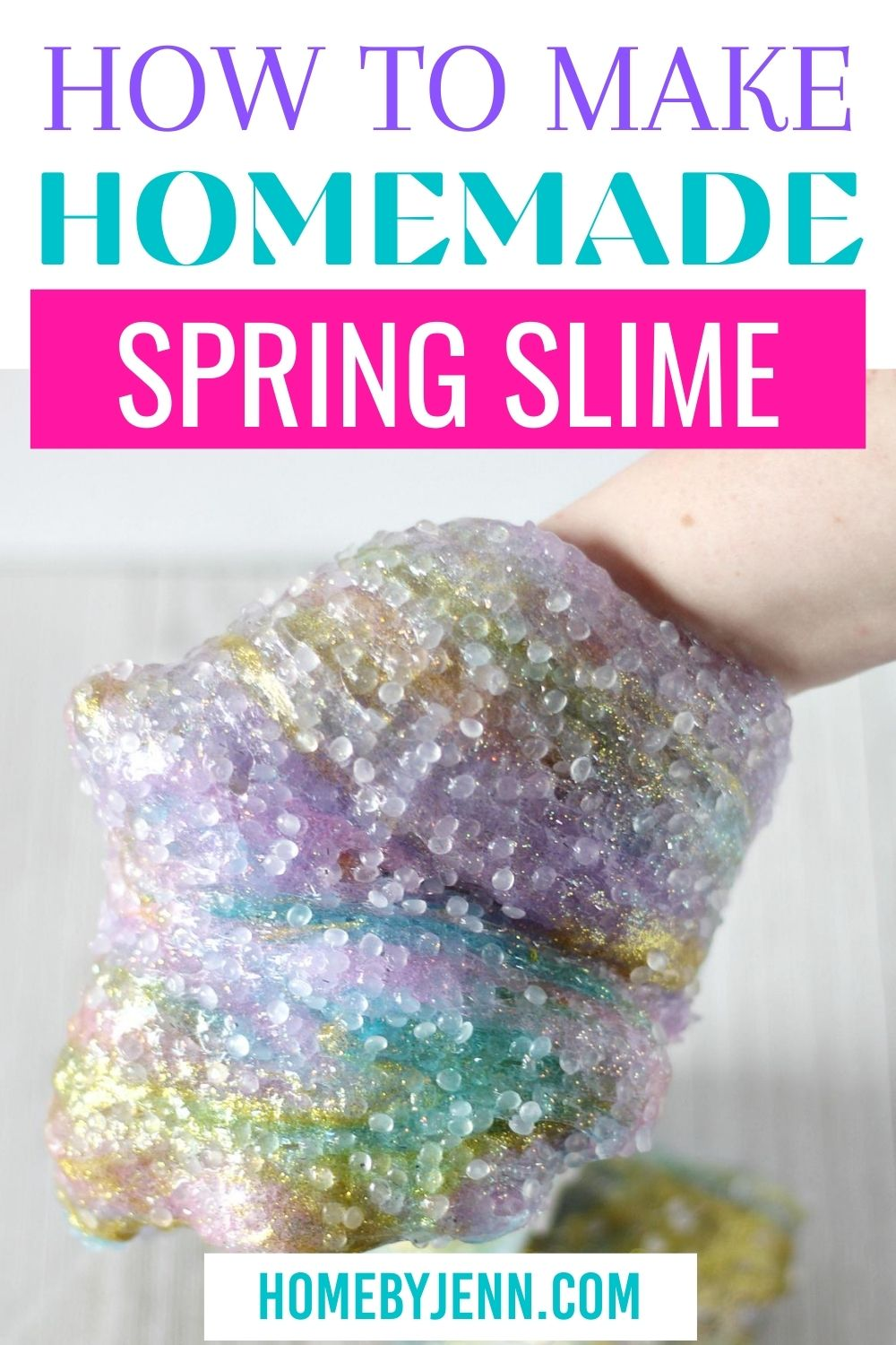 You'll fall in love with this super simple DIY homemade slime. It's such a simple and crafty way to get ready and excited for Spring! #homemade slime #DIY #slimerecipe #Spring via @homebyjenn