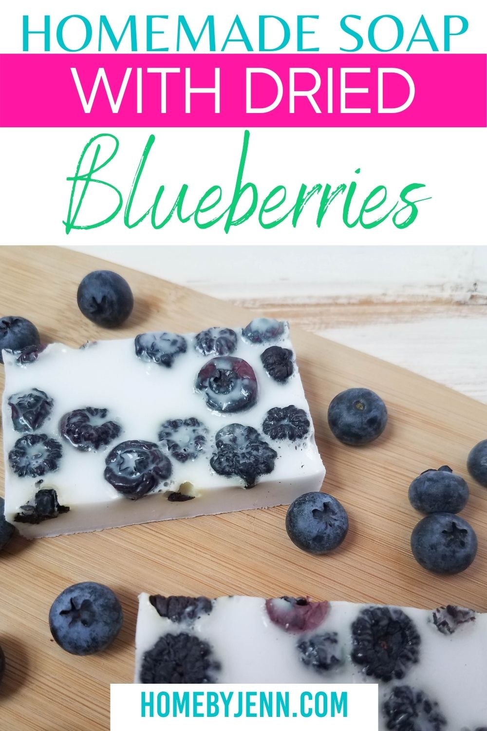 This homemade soap recipe is so simple and easy to make! All you need are a few ingredients and it will be done in no time at all! Plus, with the addition of dried blueberries, it smells amazing as well! #homemade #DIY #homemadesouprecipes #blueberry #skincare #beauty via @homebyjenn