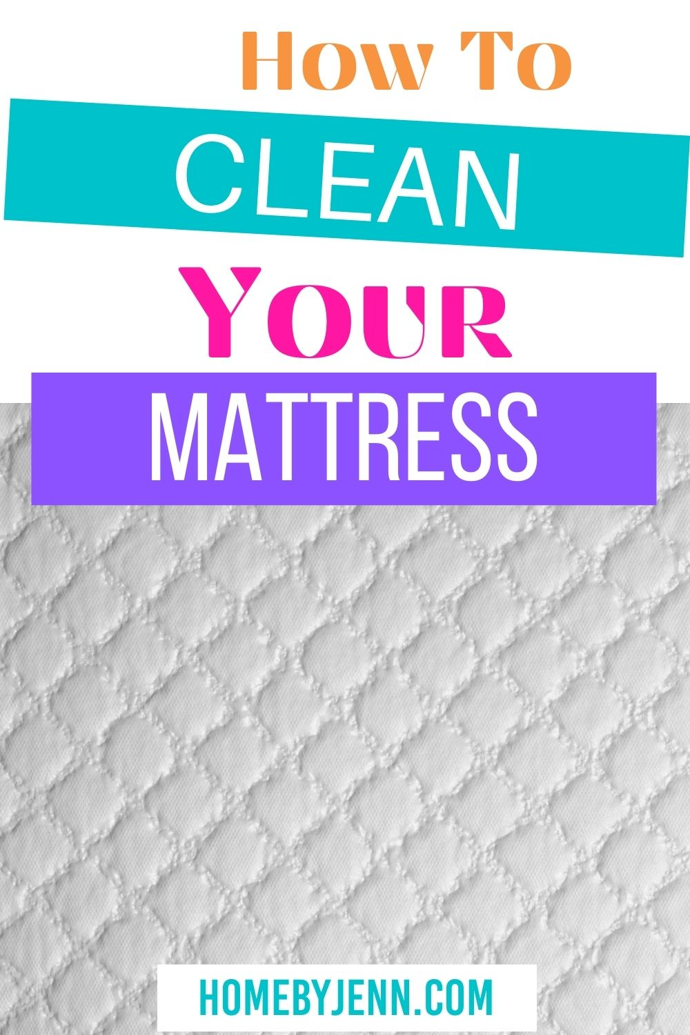 Extend the life of your mattress and remove all of the allergens by cleaning your mattress. This post will show you how to clean pee and other stains from your mattress. #clean #cleanhome #howtocleanamattress #cleanmattress via @homebyjenn