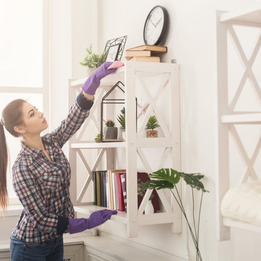 dusting shelves
