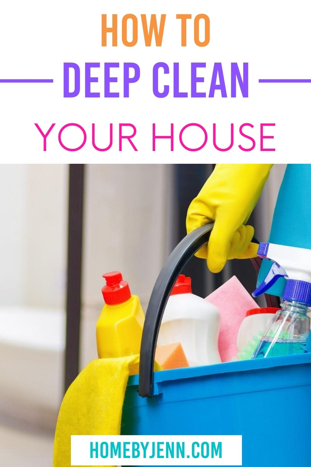 Wondering how to deep clean your house? These simple tips will make all those germs go away! Not too mention, cleaning will help you declutter as well! Don't feel overwhelmed by the thought of spring cleaning! Instead, put it into an easy cleaning checklist so you can tackle areas of your home one by one! These easy tips will have you not dreading cleaning your home any longer and having you gear up to tackle the rest of the house. #cleaning #DIY #springcleaning #cleaningchecklist #deepclean via @homebyjenn