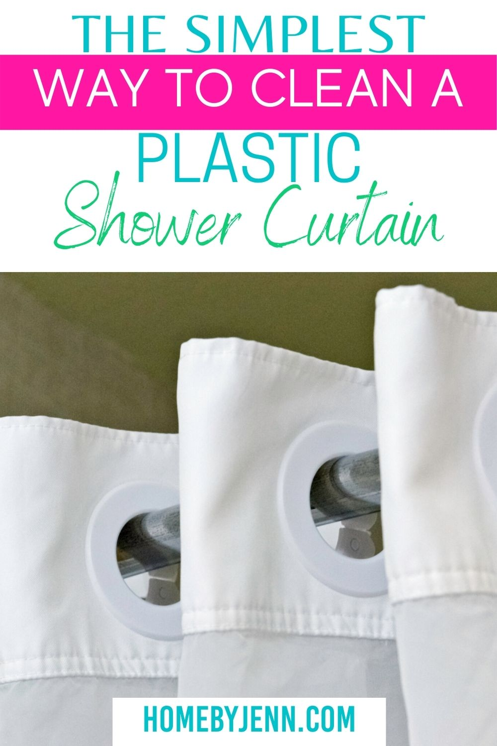 Learn How to clean plastic shower curtain the right way so you can re-use it over and over again. A simple method will give you a clean plastic shower curtain free of mildew #cleaning #bathroom #showercurtain #plasticshowercurtain #howtocleanshowercurtain #howto #easy #clean via @homebyjenn