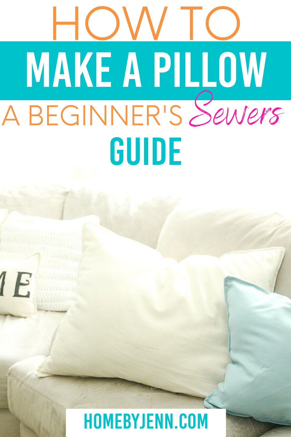 Learn how to make a pillow with stuffing in this DIY sewing tutorial with video. This pillow is so easy to make that you'll want to make pillows by hand after you see this tutorial. | #sew #pillow #howto #guide #beginners #easy #DIY #tutorial #stepbystep via @homebyjenn