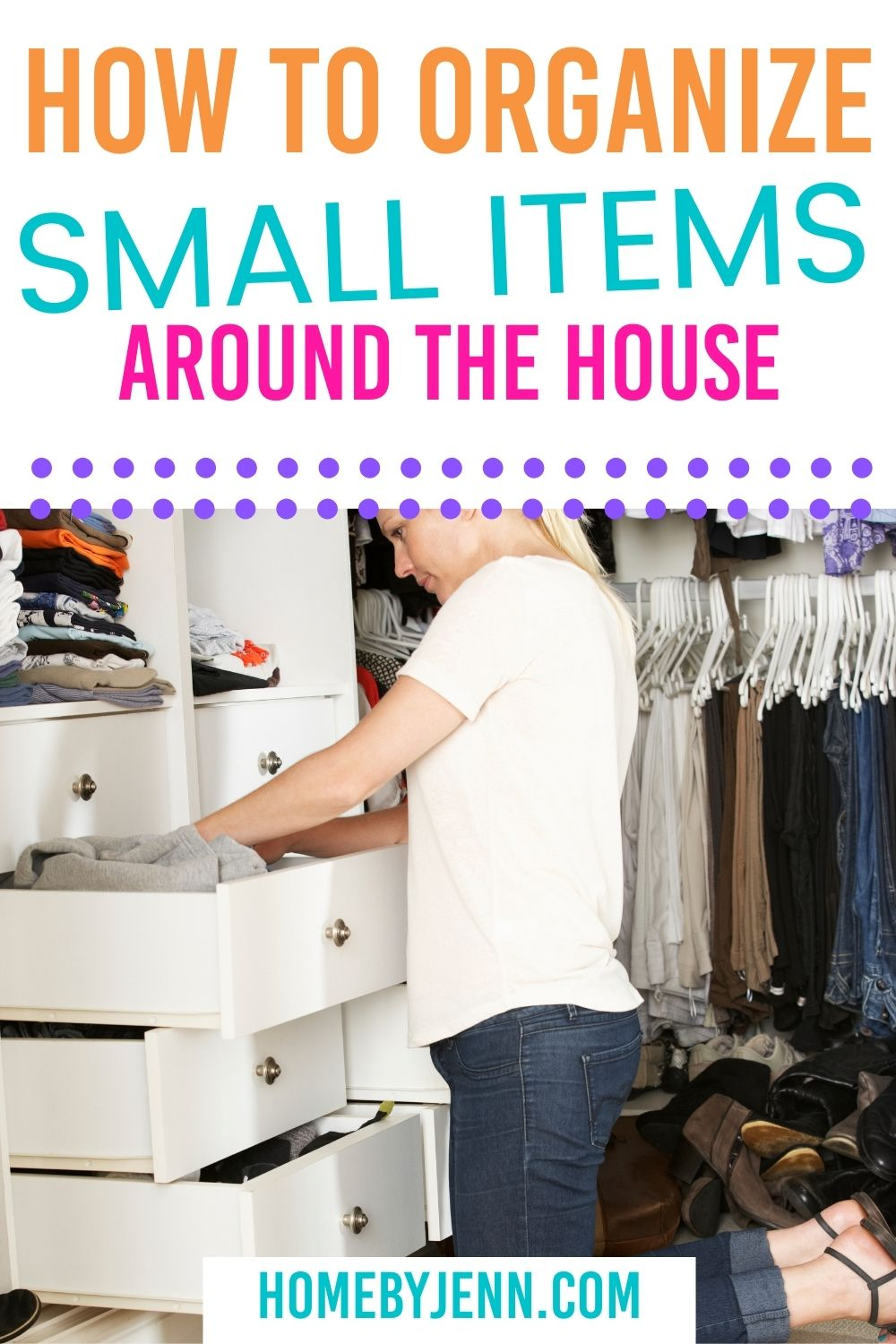 Are you struggling with keeping the small items around your home organized? I'm going to show you how to organize small items around the house. There are some really inexpensive and creative things you can do to keep small items organized. via @homebyjenn