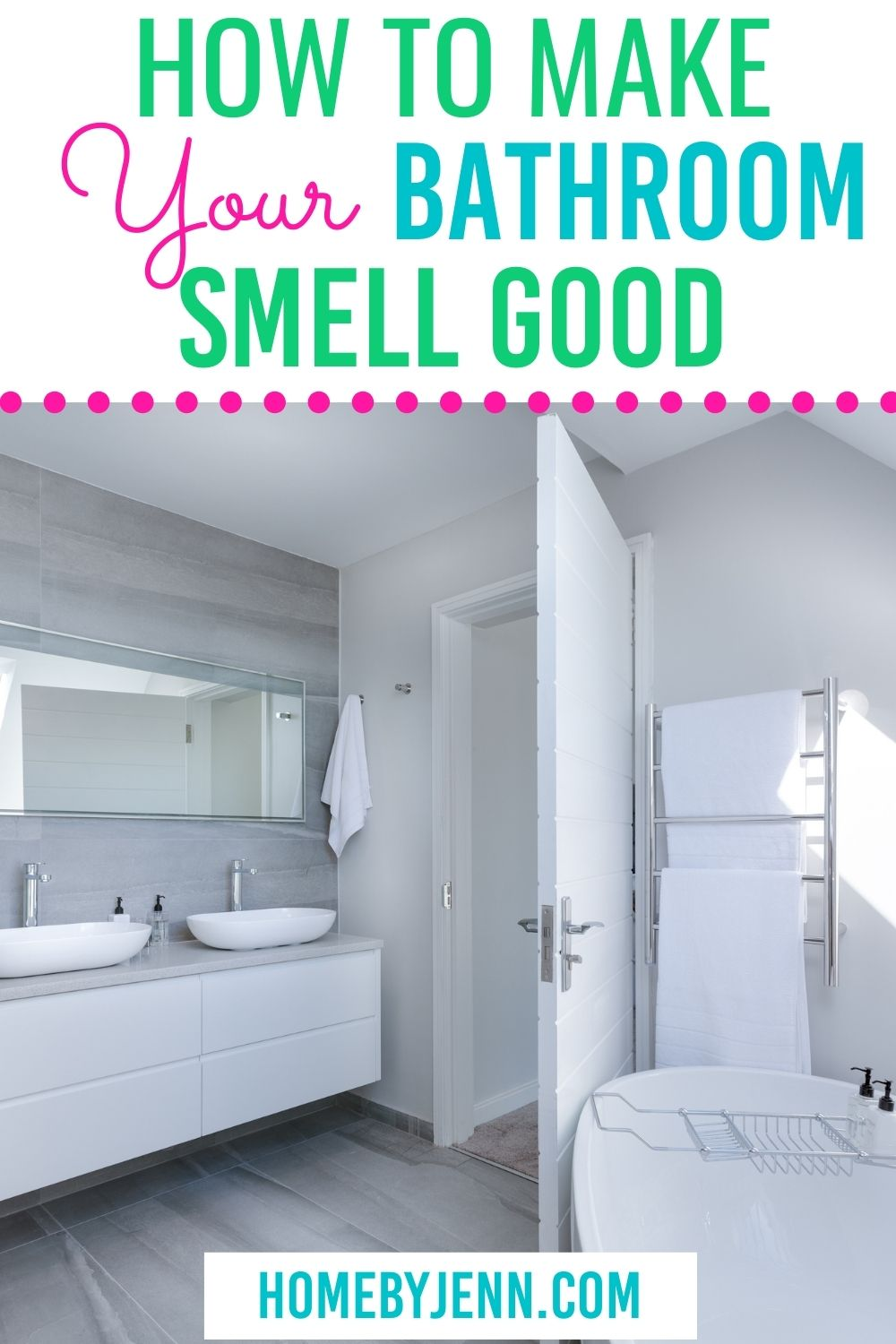 Learn how to make your bathroom smell good. There are simple and natural things you can do to keep your bathroom smelling fresh and clean. These simple tips will keep your bathroom smelling good. via @homebyjenn