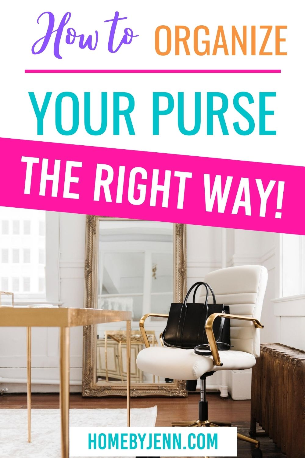 Learn how to organize your purse the right way. Say bye-bye to anxiety-inducing clutter, and hello to a clean and organized purse. #content #guide #tips #organizing #simple #clutter #zipperpouch via @homebyjenn