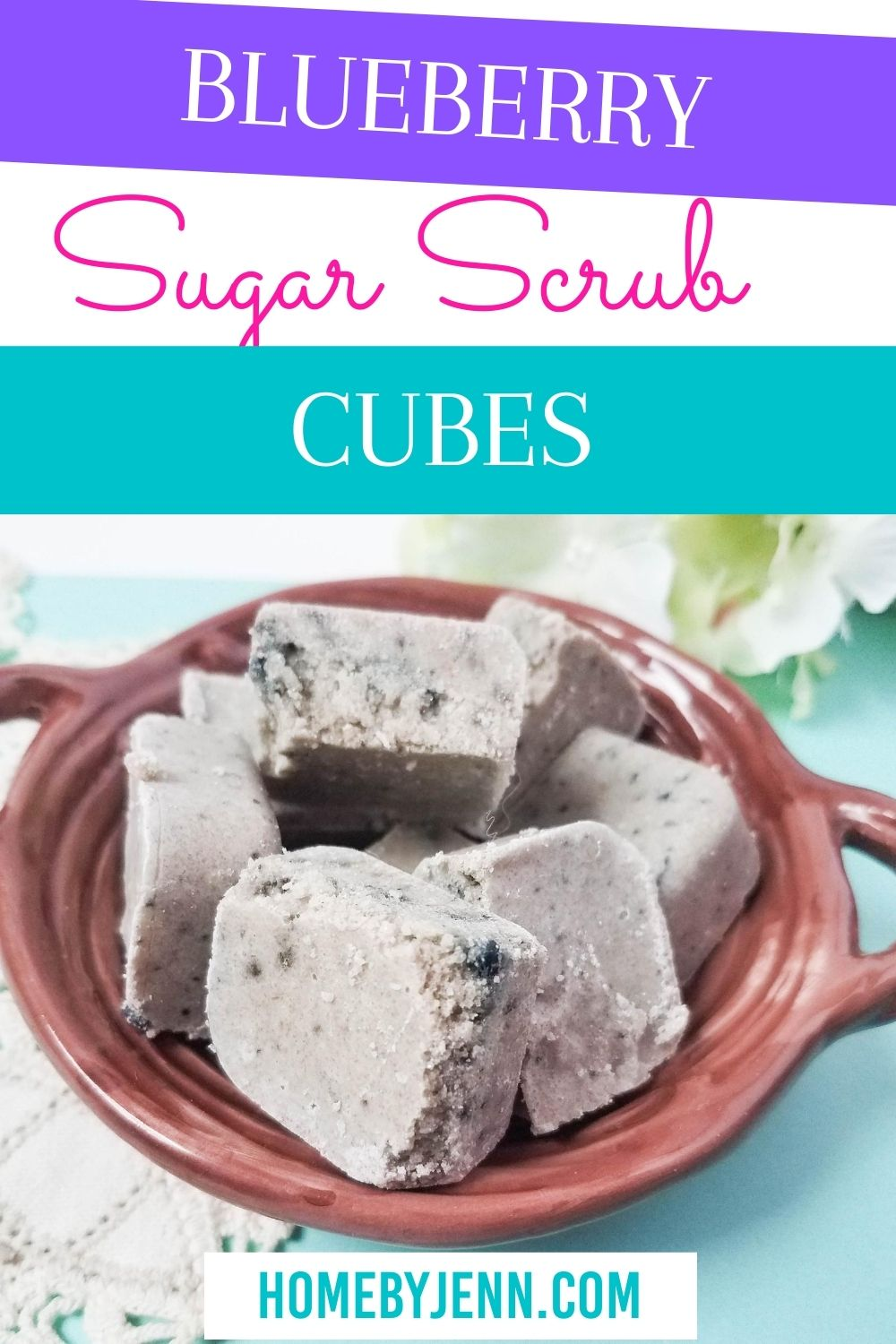 These blueberry sugar scrub cubes are easy to make and are less messy than the regular homemade sugar scrubs. You'll love this easy to follow recipe! The best part? You can make this homemade soap from the comfort of your own home! And you know what every ingredient is going into it as well! #DIY #homemade #beauty #natural #blueberry #sugarscrub via @homebyjenn