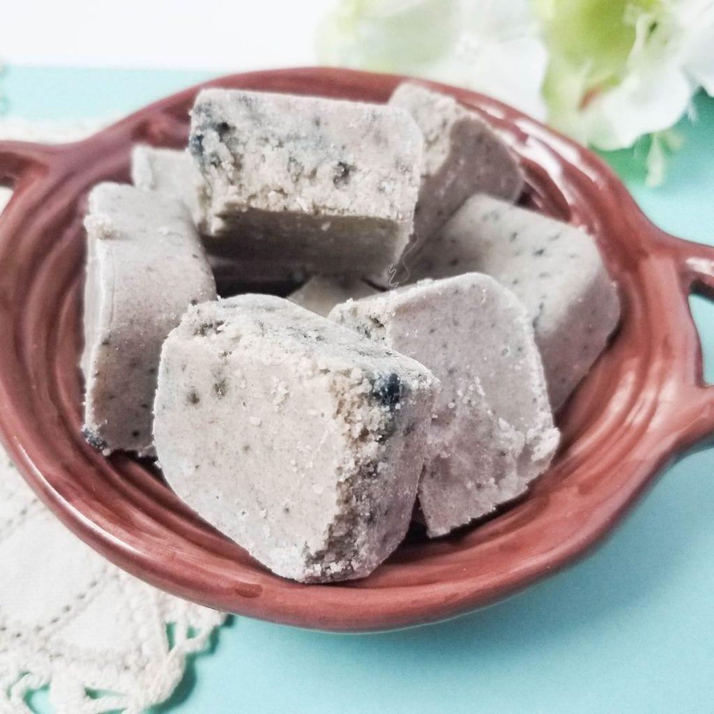 Blueberry Sugar Scrub Cubes in a bowl