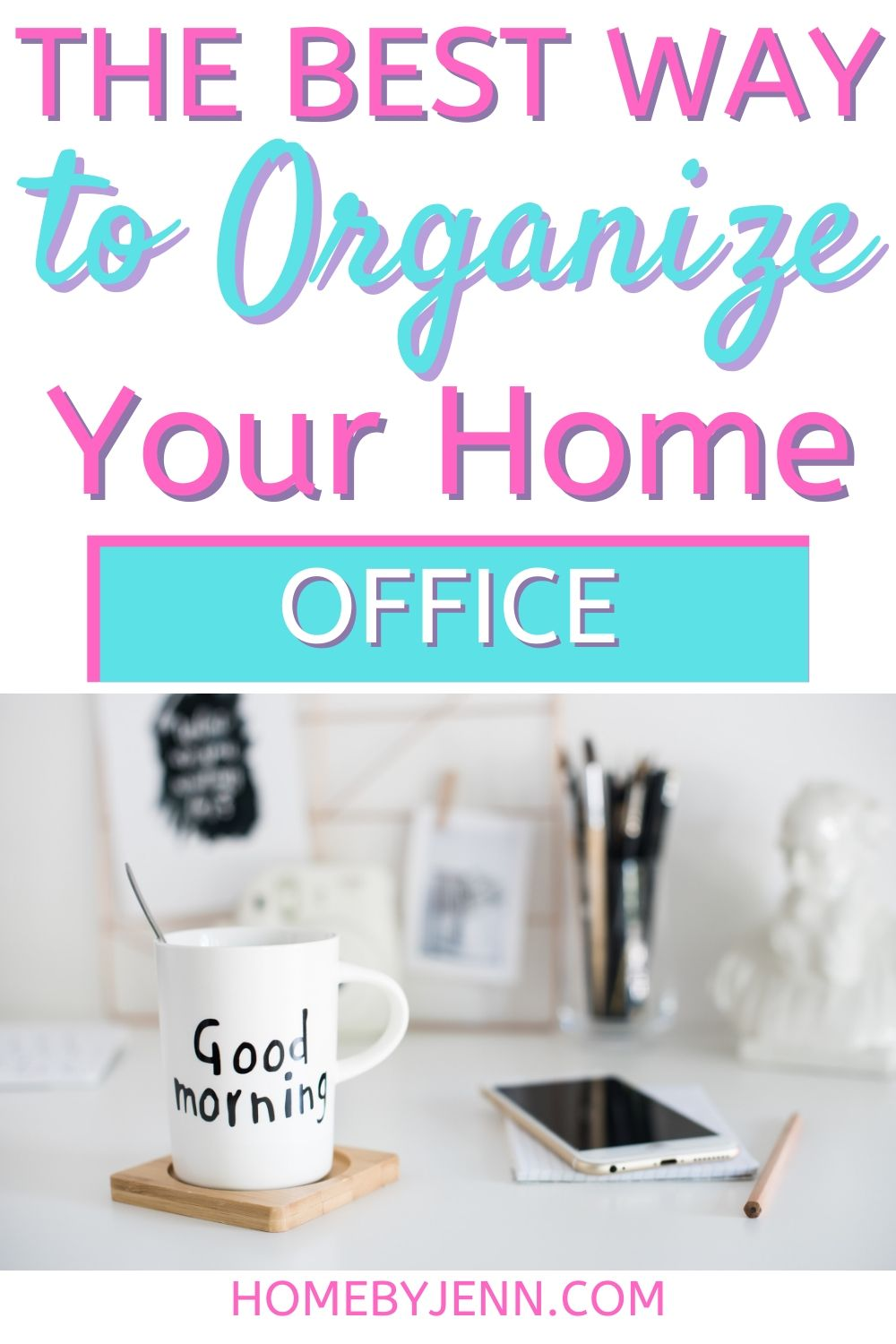Organize your home office to boost productivity. These organizing tips will help you declutter your office and allow you to work efficiently. #organizing #homeorganization #declutter #organizingtips #organizinghacks via @homebyjenn