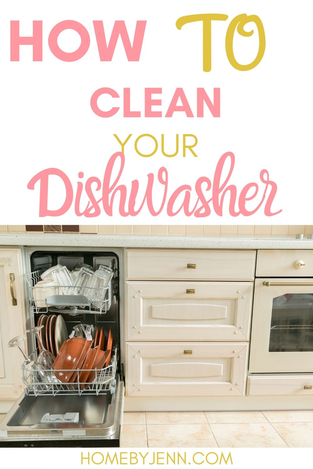 Learn how to clean your dishwasher so your dishes come out of the dishwasher fully clean. #cleaningtips #cleaning #cleaningtipsandtricks #cleaninghacks #dishwasher #cleanyourdishwasher via @homebyjenn