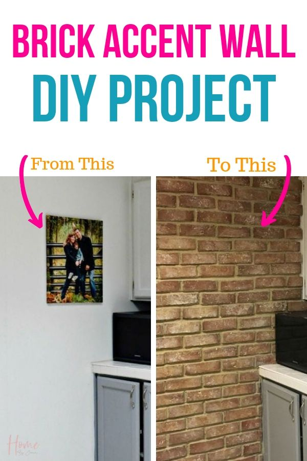 brick accent wall before and after