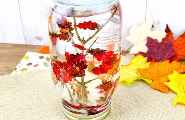 Fall Snow Globe - Falling Leaves Sensory Bottle