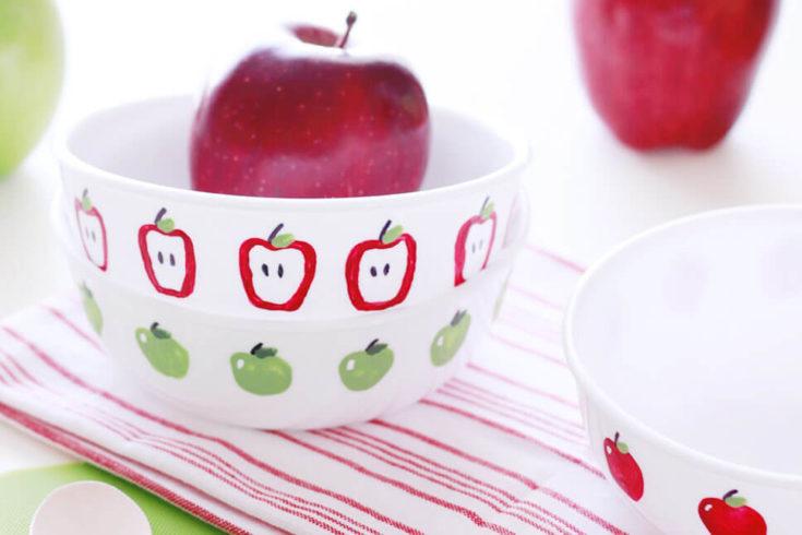 Apple Fingerpaint Bowls