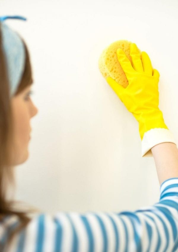 remove stains from the walls with a sponge