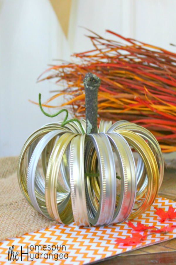 Farmhouse Rustic Mason Jar Lid Pumpkin Craft