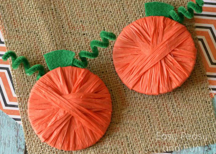 Raffia Wrapped Pumpkins {Pumpkin Crafts for Kids}