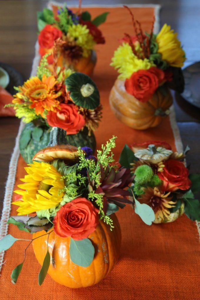Thanksgiving Pumpkin Flower Centerpieces | Delicious Table