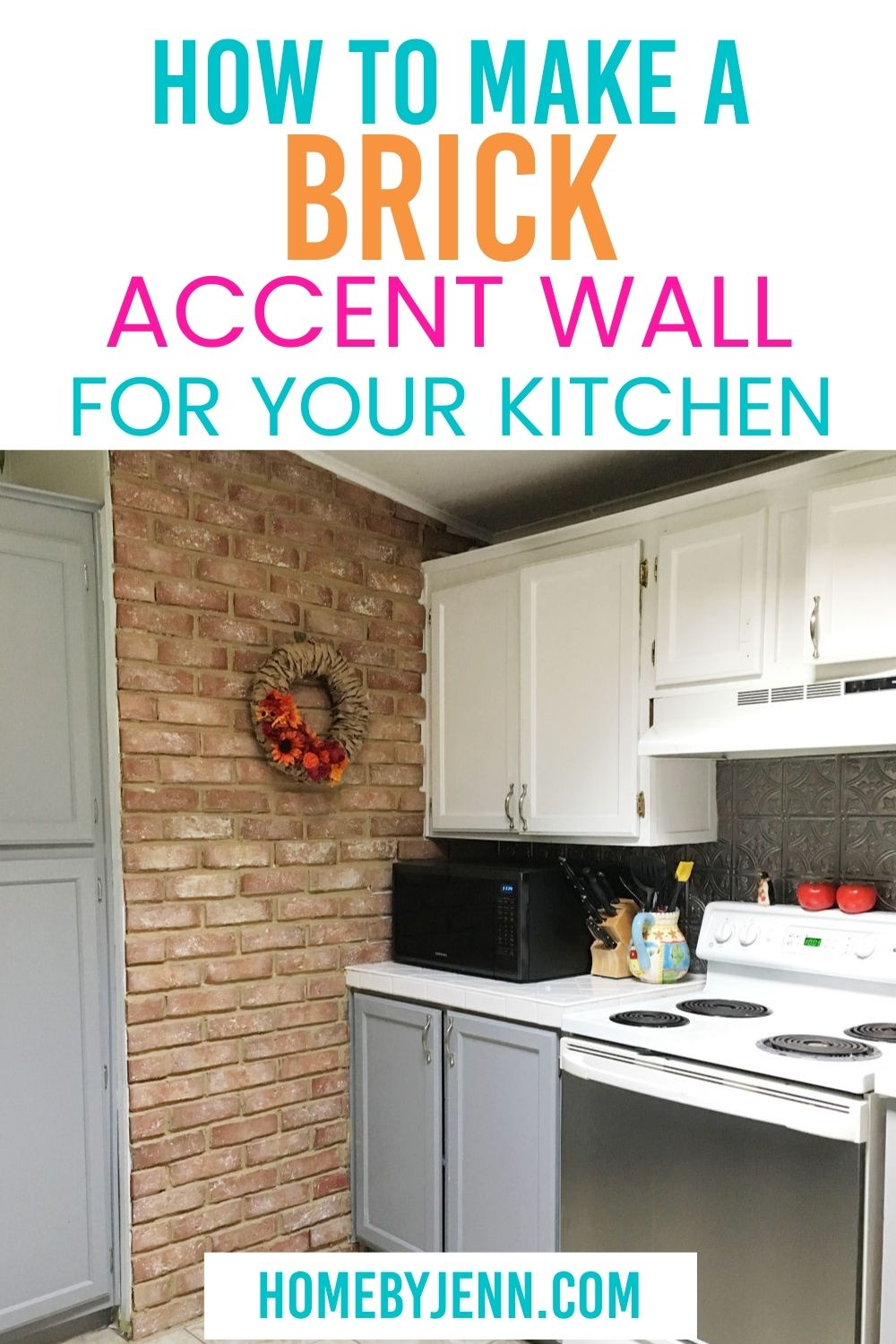 Follow this guide to learn how to make a brick accent wall for your kitchen today! This brick wall will transform your kitchen space #rustickitchn #brickwallaccent #diyforhome #brickaccent #kitchen #project #easy #diy via @homebyjenn