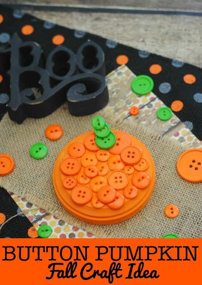 Fall Craft Idea: Button Pumpkin Craft