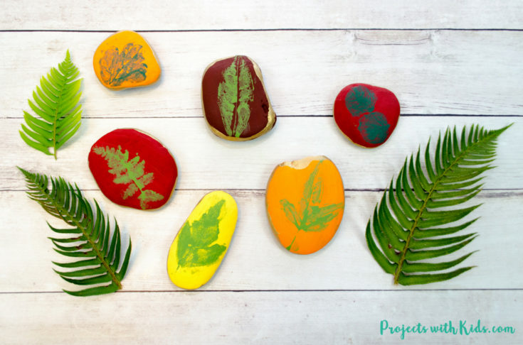 Easy Leaf Printing on Rocks Autumn Craft